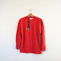 Vintage 80s Mickey Mouse Shirt Mickey Mouse Top Red Mickey Shirt Disney Shirt Mickey Mouse Long Sleeve Shirt Unisex Shirt Size Large
