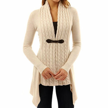 Spring Women's Long Sleeve Knitted Cardigan Sweater Solid Color Outwear Jacket Casual Coat Sweater