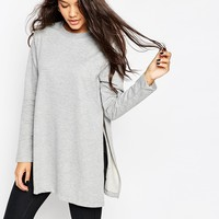 ASOS Longline Sweat With Side Splits at asos.com