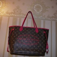 AUTHENTIC NEW LOUIS VUITTON INDIAN ROSE NEVERFULL MM SHOPPING BEACH BAG M40940
