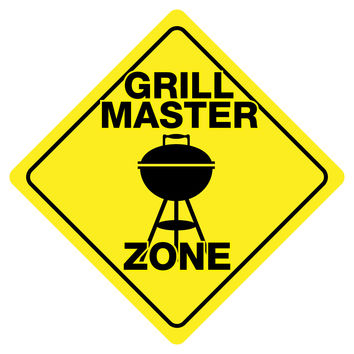 """GRILL MASTER ZONE Funny Novelty Crossing Sign 12""""x12"""""""