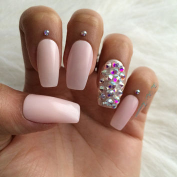 Sheer pink ~ Press on nails ~ False nails ~ Stiletto nails ~ Stiletto false nails ~ Fake nails ~ Pretty nails ~ Faux Nails ~ Matte nails