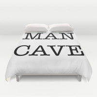 MAN CAVE Duvet Cover by RQ Designs (Retro Quotes)
