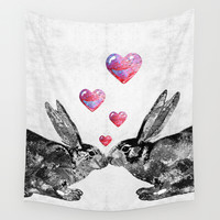 Bunny Rabbit Art - Hopped Up On Love 2 - By Sharon Cummings Wall Tapestry by Sharon Cummings