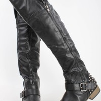 BLACK FAUX LEATHER STUDDED SPIKES OVER THE KNEE RIDING BOOTS