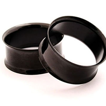 Black Steel Double Flare Tunnels - 00g - 10mm - Sold As a Pair