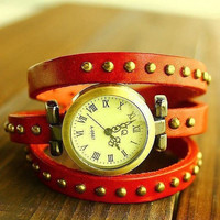 Woman watch with leather bracelet. Bracelet from natural cow leather. Vintage and retro style.