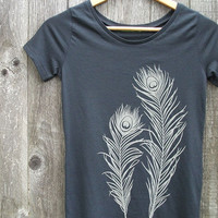 Womens T shirt - Gray Peacock Feathers - Organic Cotton - S M L XL