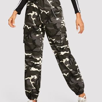 Flap Pocket Side Camo Cargo Pants
