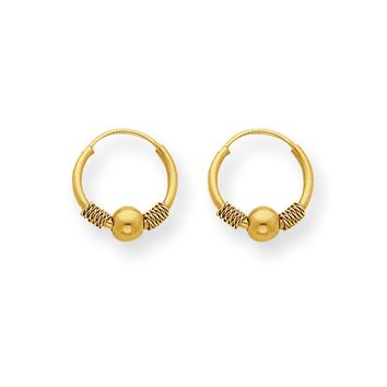Kids 14k Yellow Gold Small Endless Hoop Bead Earrings, 12mm (7/16 in)