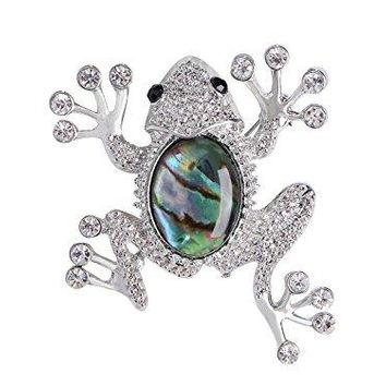 Alilang Czech Crystal Rhinestone Synthetic Emerald Golden Frog Fashion Jewelry Pin Brooch