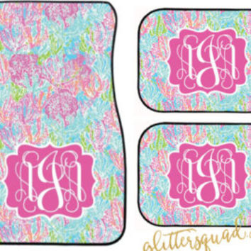 Car Mats Custom Preppy Lilly Pulitzer Inspired Monogram/ Oh Shello / Bait and Switch / Out to Sea / Lets Cha Cha / Lobstah Roll