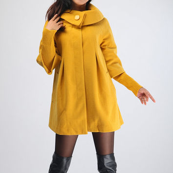 Yellow Cape Wool Coat Winter Woman Cloak Long Dress Coats Wool Cape Coat Jacket -WH003 XS-XL