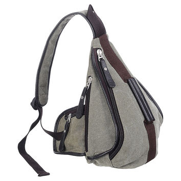 Canvas Sling Pack, Army Green, Laptop & Messenger Bags