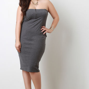 Casual Chic Heathered Rib Knit Strapless Dress