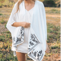 Boho Floral Embroidered Ends Kimono - Comes in 3 Colors