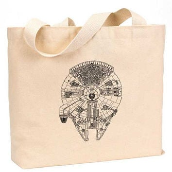 "Millennium falcon art Cotton Canvas Jumbo Tote Bag 18""w x 11""h"