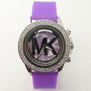 MK Michael Kors men and women new stylish fashion candy strap F-SBHY-WSL Purple Watchband + Hollow Dila + Silver Case