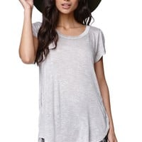 LA Hearts Side Slit Tunic Top - Womens Tee - Gray
