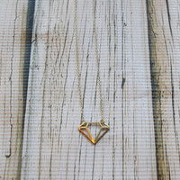 Simple Diamond Silhouette Pendant Necklace - Gold