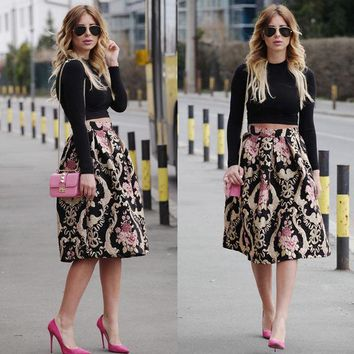 Sexy Women Retro Floral High Waist Pleated Party A Line Midi Skater Skirt