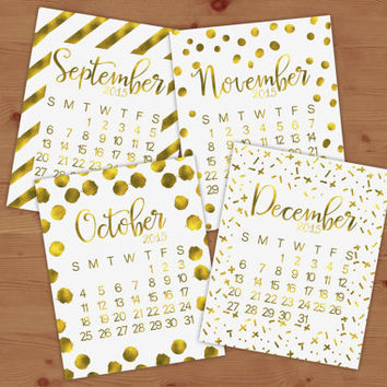 Gold Foil 2015 Calendar - Real Gold Foil Print, Office Art, Dorm Room Decor, Home Decor, Chic, Modern, stripes, Polka Dots