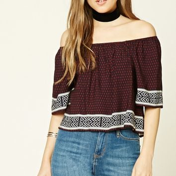 Off-the-Shoulder Geo Print Top