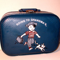 1960's Boy / Going to Grandma's / Childs Suitcase / Blue