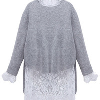 Gray and White Circular Flounce Sleeve Lace Shift Knitted Mini Dress