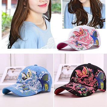 2017 Summer  Adjustable Baseball Cap Women Lady Flowers Butterfly Embroidered Hat