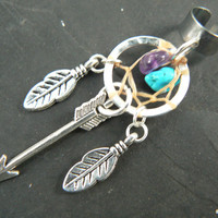 silver arrow dreamcatcher ear cuff turquoise amethyst feathers in native american tribal boho belly dancer tribal fusion and hipster style
