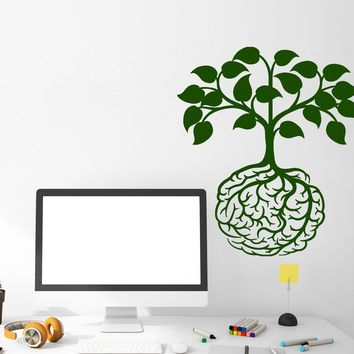 Vinyl Wall Decal Abstract Creative Art Idea Brain Tree Roots Stickers (2727ig)
