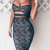Black Spaghetti Strap Cut Out Bodycon Lace Dress