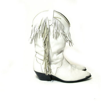 80s White FRINGE Leather Cowboy Boots