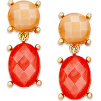 Charter Club Earrings, Gold-Tone Coral Stone Double Drop Earrings - All Fashion Jewelry - Jewelry & Watches - Macy's