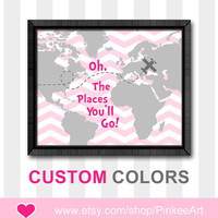 oh the places girl artwork oh the place you'll go map dr seuss quotes poster girl decor girls room girl nursery ideas pink kids playroom