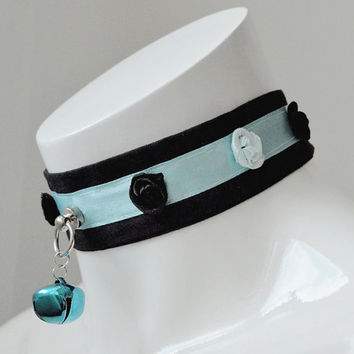 Kitten play collar - Frozen rose - ddlg princess pastel blue and black collar with bell - lolita kawaii pastel goth choker necklace