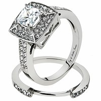 A Perfect 1.5CT Cushion Cut Double Halo Russian Lab Diamond Bridal Set