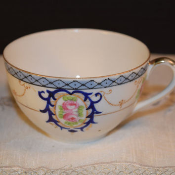 Noritake Blue China Cup Vintage Noritake Japan Gold Trim Blue Pink Cabbage Roses Noritake Collectible Tea Cup Replacement China Cup