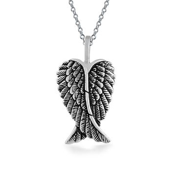Angel Wing Feathered Heart Pendant Sterling Silver Engravable Necklace