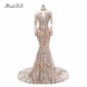 Modabelle Fashion Bling Gold Sequins Long Sleeve Evening Dresses Mermaid High Neck Luxury Arabic Evening Gowns Dresses Formal