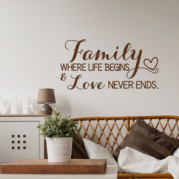 Family Wall Decal Quote- Family Where Life Begins And Love Never Ends Wall Decal- Inspirational Wall Decal Quote Family Sign Home Decor #119