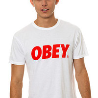 Obey Tee Font in Natural and White