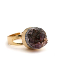 DRUZY CRYSTAL STONE RING