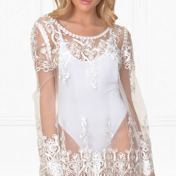 Indie XO Life's A Beach White Embroidered Sheer Mesh Lace Long Sleeve Scallop Hem Blouse Beach Cover Up Top