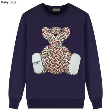 Burberry 2019 new new thick cotton bear print round neck long-sleeved sweater Navy blue