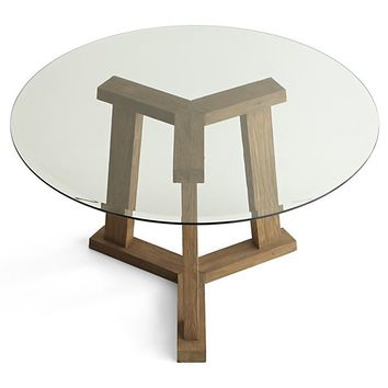 "Teak Reclaimed Wood Dining Table with 48"" Round Glass Top"