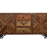 Reclaimed Industrial Sideboard Buffet Table Storage Cabinet on Iron Wheels
