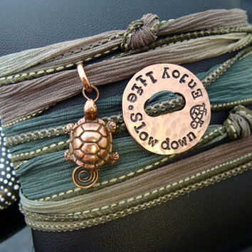 """D2E hammered hand stamped recycled penny, copper turtle charm """"slow down enjoy life"""" inspirational quote, wrap bracelet"""