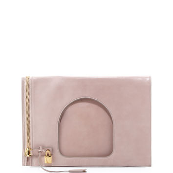 Alix Leather Padlock & Zip Shoulder Bag, Neutral - TOM FORD